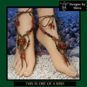 Brown Barefoot Sandals with Amber, Gold, & Copper
